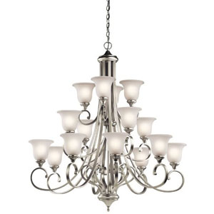 Monroe Brushed Nickel 16 Light Three Tier Chandelier with White Scavo Glass