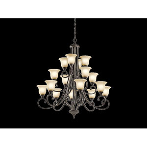 Monroe Olde Bronze 16 Light Three Tier Chandelier with White Scavo Glass