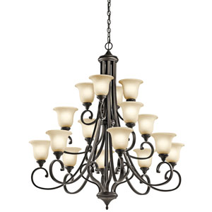 Monroe Olde Bronze 45-Inch Sixteen-Light Energy Star Multi-Tier Chandelier