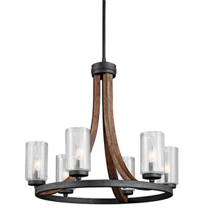 Grand Bank Auburn Stained Six Light Medium One Tier Chandelier