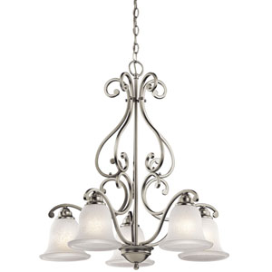 Camerena Five-Light Brushed Nickel Down Chandelier