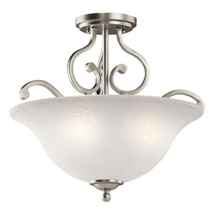 Camerena Three-Light Brushed Nickel Semi-Flush