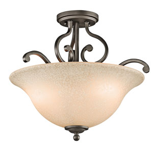 Camerena Olde Bronze Three-Light Semi-Flush Light