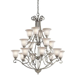 Camerena Brushed Nickel 16 Light Three Tier Chandelier with White Scavo Glass