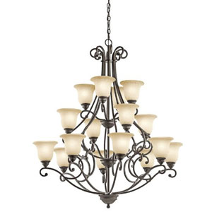 Camerena Olde Bronze 16 Light Three Tier Chandelier with White Scavo Glass