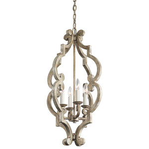 Hayman Bay Four-Light Distressed Antique White Foyer Mini Chandelier