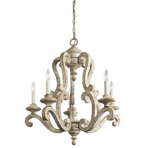 Hayman Bay Five-Light Distressed Antique White Chandelier