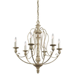 Hayman Bay Six-Light Distressed Antique White Chandelier