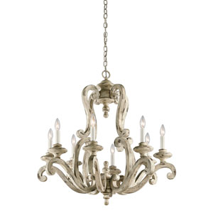 Hayman Bay Distressed Antique White Eight-Light Chandelier