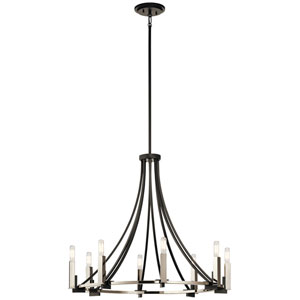 Bensimone Black 30-Inch Eight-Light Chandelier