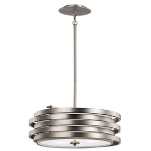 Roswell Brushed Nickel Three Light Pendant