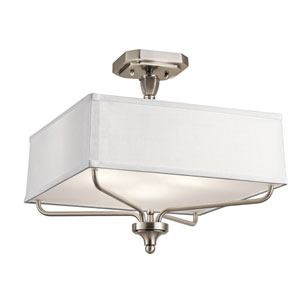 Arlo Classic Pewter Three-Light Semi Flushmount