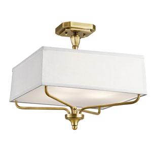 Arlo Natural Brass Three-Light Semi Flushmount