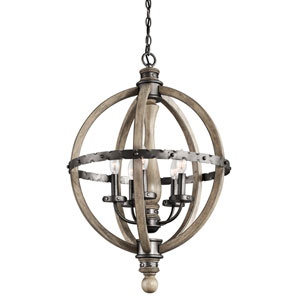 Evan Distressed Antique Gray Five-Light 20-Inch Chandelier
