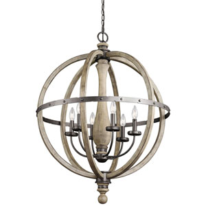 Evan Distressed Antique Gray Six Light Pendant