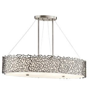 Silver Coral Classic Pewter Four-Light Oval Chandelier Convertible Pendant