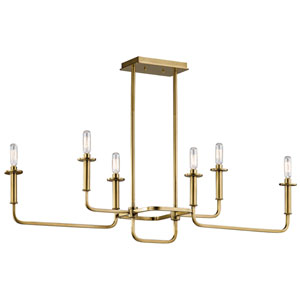 Alden Natural Brass Six-Light Chandelier