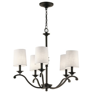 Versailles Olde Bronze 26-Inch Five-Light Chandelier with White Hardback Shade