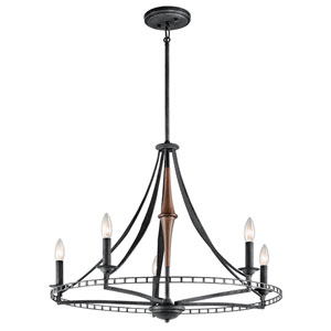 Clague Distressed Black Five-Light Chandelier