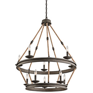 Kearn Olde Bronze 10-Light Two Tier Chandelier