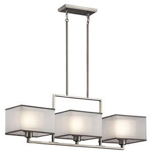 Kailey Brushed Nickel Three Light Single Linear Chandelier