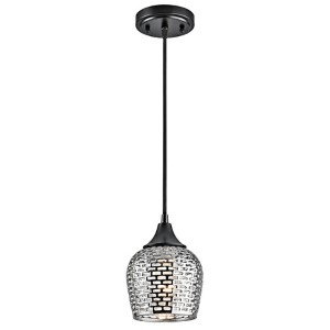 Annata Black Material One-Light Mini-Pendant with Silver Ceramic Shade