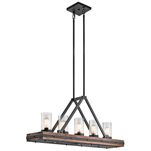 Colerne Auburn Stained Five-Light Linear Chandelier