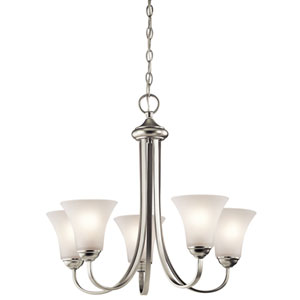 Keiran Brushed Nickel Three-Light One Tier Small Chandelier