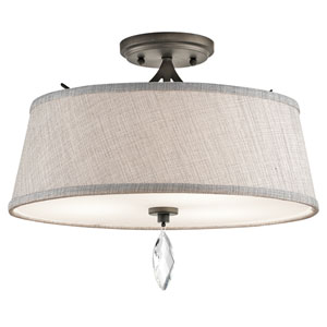 Casilda Olde Bronze Three-Light Semi Flush
