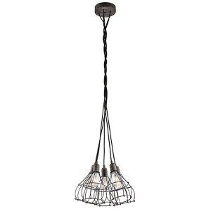 Industrial Cage Weathered Zinc Five-Light Pendant