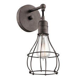 Industrial Cage Weathered Zinc One-Light Wall Sconce