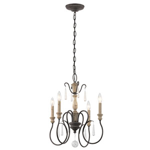 Kimberwick Weathered Zinc Four-Light Mini Chandelier