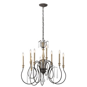 Kimberwick Weathered Zinc Nine-Light Two-Tier Chandelier