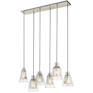 Evie Brushed Nickel Six-Light Linear Chandelier