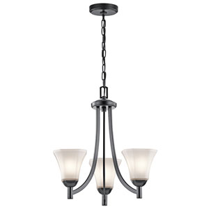 Serena Black Three-Light Chandelier