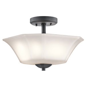 Serena Black Two-Light Semi Flush Mount