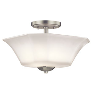 Serena Brushed Nickel Two-Light Semi Flush Mount