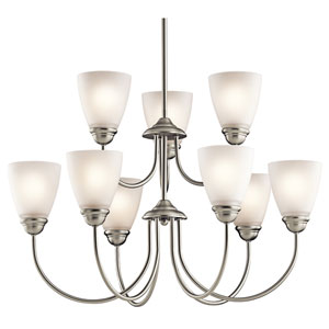 Jolie Brushed Nickel Nine-Light Chandelier