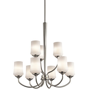 Aubrey Brushed Nickel Nine-Light Chandelier