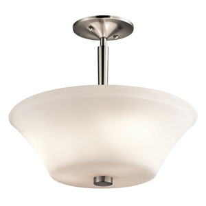 Aubrey Brushed Nickel Three-Light Semi-Flush