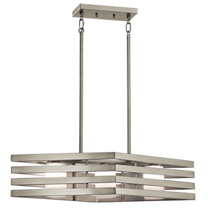 Realta Brushed Nickel Three-Light Linear Chandelier