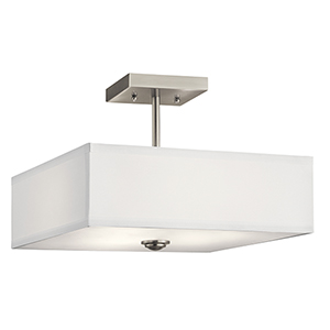 Shailene Brushed Nickel 14-Inch Three-Light Semi-Flush Mount
