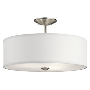 Shailene Brushed Nickel 18-Inch Three-Light Semi-Flush Mount