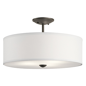 Shailene Olde Bronze 18-Inch Three-Light Semi-Flush Mount
