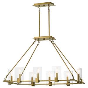 Signata Natural Brass Eight-Light Linear Pendant