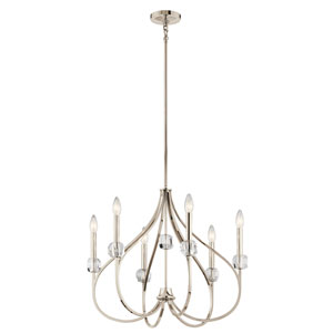 Eloise Polished Nickel Six-Light Chandelier