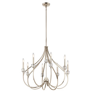 Eloise Polished Nickel Eight-Light Chandelier