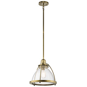 Silberne Natural Brass 13-Inch One-Light Pendant