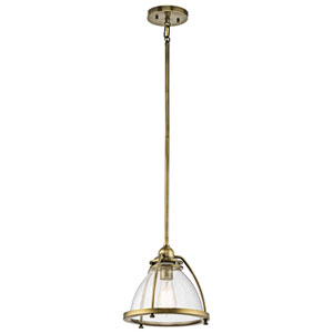 Silberne Natural Brass 10-Inch One-Light Pendant