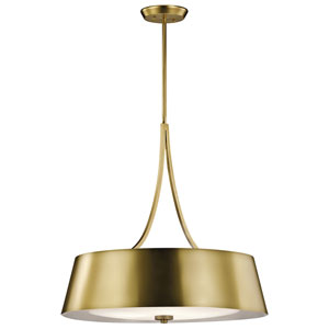 Maclain Natural Brass Four-Light Drum Pendant